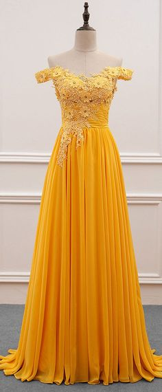 2018 yellow long prom dresses, elegant long prom