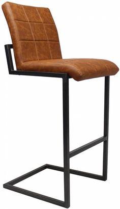 Hoxton industriële barkruk cognac Loft Kitchen, Floor Chair, Bar Stools, New Homes, Living Room, Interior, Furniture, Design, Home Decor