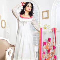 White Faux Georgette Anarkali Style Churidar Kameez