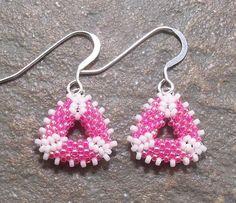 Hot Pink & White Mini Triangle Earrings Free Shipping USA