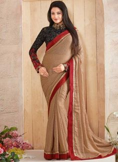 Cream Black Embroidery Work Printed Fancy Fabric   Designer Sarees  http://www.angelnx.com/Sarees