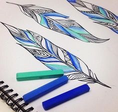 #blue #feather #pastels #design