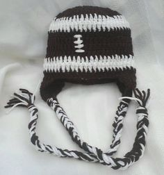 Crochet Football Hat w/ Braided Ties by MamaTCrafts on Etsy, $17.00