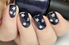 Starry Night ** OPI Road House Blues with silver nail art stars.