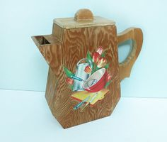 Rare 1940s Wooden Soap Powder Dispenser, Handmade with a Vintage Decal of Kitchen Tools and Tulips