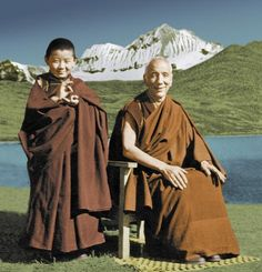 A young Sogyal Rinpoche with his first teacher Jamyang Khyentse Chökyi Lodrö - Rigpa Wiki