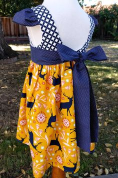 Girls Thanksgiving dress bucks Christmas dress 3T ready to ship.  Girls Christmas dress bucks; Tea Party dress Size 3T ready to ship by SilSewingStudio on Etsy