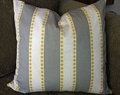 "Decorative Pillow Cover, ONE 18"" x 18"", Stripes  in Storm Gray,White and Corn Yellow"