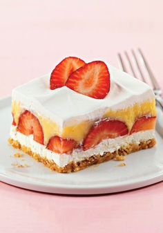 Berried Delight — Juicy strawberries meet creamy pudding in these crowd-pleasing no-bake dessert squares.