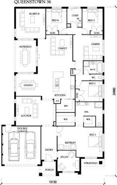 Queenstown 36 - Large Designs - Eden Brae Homes Duplex Floor Plans, Home Design Floor Plans, House Floor Plans, 4 Bedroom House Plans, Dream House Plans, Eden Brae, Porter Davis, Port Macquarie, One Story Homes