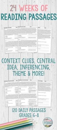 Get 24 weeks of daily reading passages in this bundle for middle school English language arts! Reading comprehension skills and strategies covered in these reading passages include making inferences, context clues, determining the central idea, and determining the theme. These passages are perfect for test prep, as well as for bell ringers or homework. Click through to get more information! #6thgrade #7thgrade #8thgrade #middleschool #reading #ELA #Englishlanguagearts