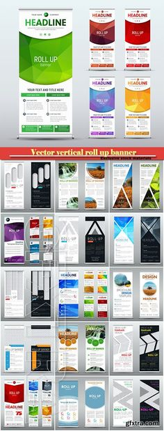 Template of a vector vertical roll up banner for business