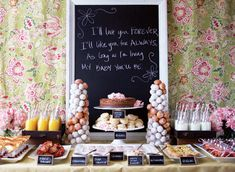 Ideas for a beautiful brunch table buffet for any occasion. This display makes brunch entertaining more special and will wow your guests. Baby Shower Brunch, Shower Party, Bridal Shower, Shower Cake, Brunch Decor, Brunch Buffet, Brunch Food, Brunch Bar, Brunch Drinks