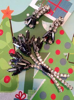 Rhinestone and gun metal grey/black brooch and earring set on Etsy, $95.00