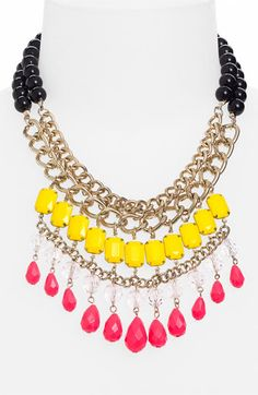 Stephan & Co. Statement Necklace available at Nordstrom NorthPark Center. Oversized baubles and a polished chain creates a statement making necklace.