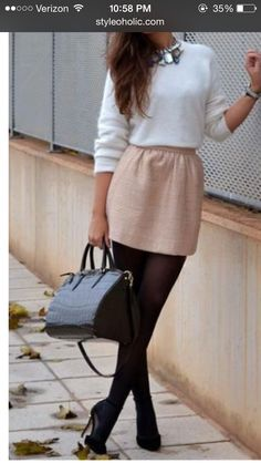 Light colored skirt with black