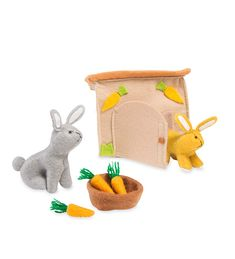 Mini Felt Rabbit Play Set—ATTN: Bunny Lovers! This pair of sweet bun-buns are made of soft felt and are packed with play potential for day-to-day and on-the-go.
