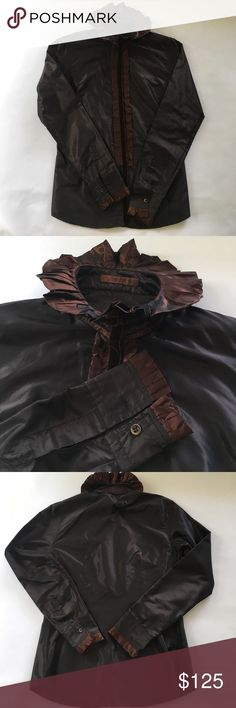 Etro  vintage silk taffeta blouse Amazing vintage piece. Chocolate silk taffeta with bronze velvet ribbon detail. Fitted. Euro size 42, would fit size 6 or 4. Would pair with a black pencil midi. Reminds me of Downton Abbey! Almost unnoticeable flaw near tag (wouldn't see when wearing, other than that perfect Etro sophistication. Etro Tops Blouses