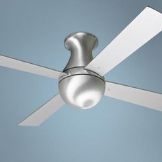 This modern hugger style ceiling fan has a brushed aluminum finish and blade span for a sleek, functional design. Four aluminum finish blades. Style # at Lamps Plus. Flush Mount Ceiling Fan, Ceiling Fan With Remote, Ceiling Lamp, Ceiling Lights, Hugger Ceiling Fan, Contemporary Ceiling Fans, Best Ceiling Fans, Outdoor Flush Mounts, Fan Lamp