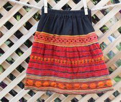 Little Girls Ethnic Hmong Skirt In Burnt by SiameseDreamDesign, $28.00