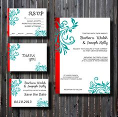 Wedding Invitation Suite-DIY Printable Red and Teal-Fancy Flourish Scroll-DIY - Set-print your own. $25.00, via Etsy.