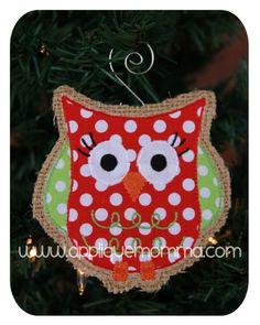 Owl Ornament Applique Design