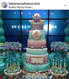 How to Make a Mermaid Birthday Cake – Baby Shower Ideas for Girls – Grandcrafter – DIY Christmas Ideas ♥ Homes Decoration Ideas Mermaid Birthday Cakes, Mermaid Cupcakes, Cupcake Birthday Cake, Little Mermaid Birthday, Birthday Cake Girls, The Little Mermaid, Rainbow Petal Cake, Quinceanera Themes, Mermaid Baby Showers