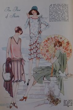 The Flow of Skirts, Woman's Journal, 1927 Style Année 20, 1920s Style, Vintage Love, Vintage Ladies, Retro Fashion, Vintage Fashion, Art Deco Cards, Roaring 20s, Illustrations