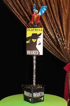 Broadway Centerpiece Broadway Themed High Top Centerpiece with Playbills, Logos & Character Cutouts Broadway Wedding, Broadway Theme, Red Carpet Theme Party, Sweet 16 Themes, Party Themes, Party Ideas, Gala Themes, Dance Themes, Movie Decor