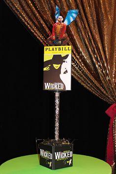 Broadway Themed High Top Centerpiece with Playbills, Logos