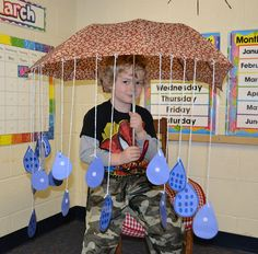 Use umbrella and raindrop idea for water cycle activity. Kids write paragraph describing the cycle on the droplets. Add a sun above umbrella.