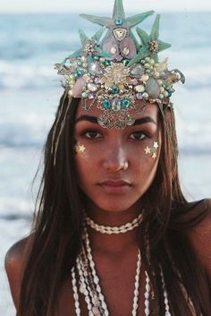 Sea Crown, Silicone Mermaid Tails, Mermaid Crown, Handmade Headbands, Tiaras And Crowns, Carnival, Shamanism, Icons, Halloween