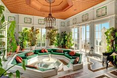 There is also solarium (shown), a dining room with French doors that open onto a terrace, a family room, and a portico with space to dine alfresco. Dream Home Design, My Dream Home, Solarium Room, Retro Interior Design, Interior Modern, Kitchen Interior, Sunken Living Room, Aesthetic Rooms, Elegant Homes