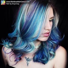 My new 'Ocean Waves' #mermaidhair. Call @strut_you in #Maroochydore to book an appointment with me (Anya Goy): 075443 5605 Visit my website/blog for tutorials, book and video on how to do bright hair colour at home: www.rainbowhaircolour.com #sunshinecoasthairdresser #mermaid #mermaidstylists #mermaidians #sunshinecoast #pravanavivids #manicpanic #brightorganix #alfaparf #bluehair #btcpics #hotonbeauty #hairideas #hair #anyagoy #brighthair #oceanhair #unicorntribe #bluehaircolour