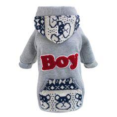 Diseña nuevamente invierno perro chico camisetas de la capa gris azul mezcla de algodón caliente mascotas perros sudaderas con capucha ropa pequeño cachorro Apparel Aug17(China (Mainland))