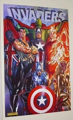 """Alex Ross 36 by 24 inch """"The Invaders"""" Marvel Universe comic book shop promotional promo poster (3 by 2 feet): Captain America/Human Torch/Submariner/Union Jack Marvel,http://www.amazon.com/dp/B00B5HRIC0/ref=cm_sw_r_pi_dp_mzfUsb0678013ZK0"""