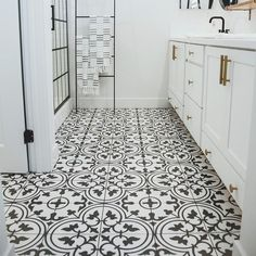 Merola Tile Arte White Encaustic in. Porcelain Floor and Wall Tile cases / sq. / - The Home Depot Merola Tile Arte White Encaustic in. Porcelain Floor and Wall Tile cases / sq. / - The Home Depot White Bathroom Tiles, Bathroom Floor Tiles, Black And White Bathroom Floor, Moroccan Tile Bathroom, Black White Bathrooms, Bathroom Tile Patterns, Kitchen Floor Tile Patterns, Black And White Flooring, Gold Bathroom