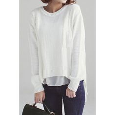 Wholesale Stylish Jewel Neck Hollow Out Chiffon Splicing Long Sleeve Women's Sweater Only $13.92 Drop Shipping | TrendsGal.com
