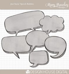 10 Speech Bubble Stamps in PNG format. Digital scrapbooking kit available at Design House Digital.  • $2.99 • by Mary Moseley