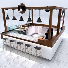 Kiosk Design, Cafe Design, Booth Design, Coffee Shop Bar, Coffee Shop Design, Coffee Box, Food Stall Design, Bar Counter Design, Mall Kiosk