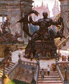 """""""The Mediator"""" by Tom Kidd - Alluring-Architecture Structures of the Imagination. """"The Mediator"""" by Tom Kidd - Alluring-Architecture Structures of the Imagination. Fantasy City, Fantasy Map, Fantasy Places, Fantasy Kunst, Medieval Fantasy, Fantasy World, Fantasy Artwork, Fantasy Concept Art, Fantasy Landscape"""