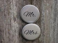 Rehearsal Dinner Mr. and Mrs. Wedding Buttons by vonderific, $6.99