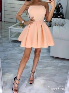 Cheap Simple Strapless Homecoming Dresses Chic Short Party Dress – SheerGirl Source by dresses short Strapless Homecoming Dresses, Simple Homecoming Dresses, Grad Dresses Short, Pretty Prom Dresses, Hoco Dresses, Dresses For Teens, Cute Dresses, Graduation Dresses, Teen Party Dresses