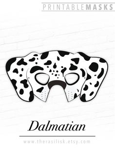 This listing is for a DALMATIAN DOG Printable Mask. You will receive high resolution PDF files that you can print your own paper masks from at home. Doggos and puppers are always in style for Halloween! Or how about a pets themed birthday party? School or church play coming up and need