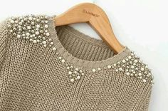 Pearl beading sweater - Perfect for Work!Sweater with pearls and silver beads.Remaking Pullover (große Sammlung) / Sweat … - Beauty Tips & Tricks An old sweater and A lot og Bears Ways to Refashion and Restyle your Old Clothes - DIY Fashion Fashion Details, Diy Fashion, Winter Fashion, Womens Fashion, Diy Kleidung, Diy Vetement, Diy Mode, Old Clothes, Refashioning