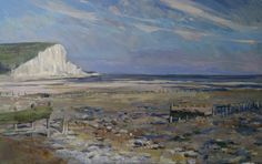 Tom Benjamin Cuckmere Haven Low Tide 30 by 48 inches oil on canvas sold Oil Painters, Seascape Paintings, Oil On Canvas, Toms, Contemporary, Landscape, Sisters, England, Art