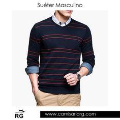 Suéter, Cardigan e Pulôver Masculino. Mais de 35 modelos em Promoção!  COMPRE AGORA www.camisariarg.com/sueter-masculino-azul-listrado-05-49-r.html