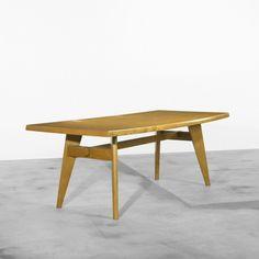 Charlotte Perriand and Pierre Jeanneret; Oak Demountable Table for L'Equipement de la Maison, c1940.