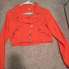 Orange cropped jean jacket Cute cropped jean jacket. It is a pretty orange color. It's never been worn. ❌ no trades Jackets & Coats Jean Jackets