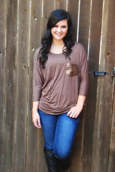 Mocha Sequin Pocket Tunic Top